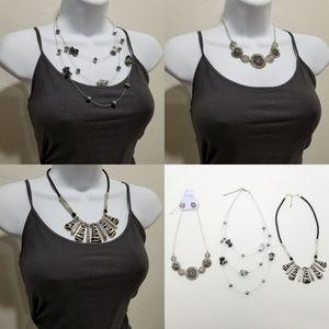 Lot of Three Elegant Necklaces & Pair of Earrings
